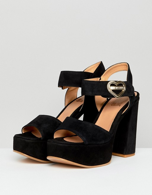 19a38fee1bd5 MOSCHINO    Heart Buckle Heeled Platform Sandal – Black – Never ...