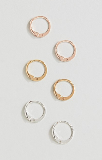 RIVER ISLAND HUGGIE HOOP MINI EARRINGS GOLD COPPER SILVER - £8.00
